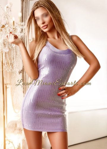 Super hot Miami blonde escort Helena in her sexy shirt purple dress