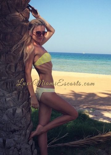 Isabella - blonde escort in Miami at the beach, wearing her yellow swim wear and sunglasses, leaning on a palm tree