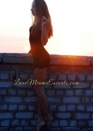 Miami escort girl Nicole in her sexy short black dress